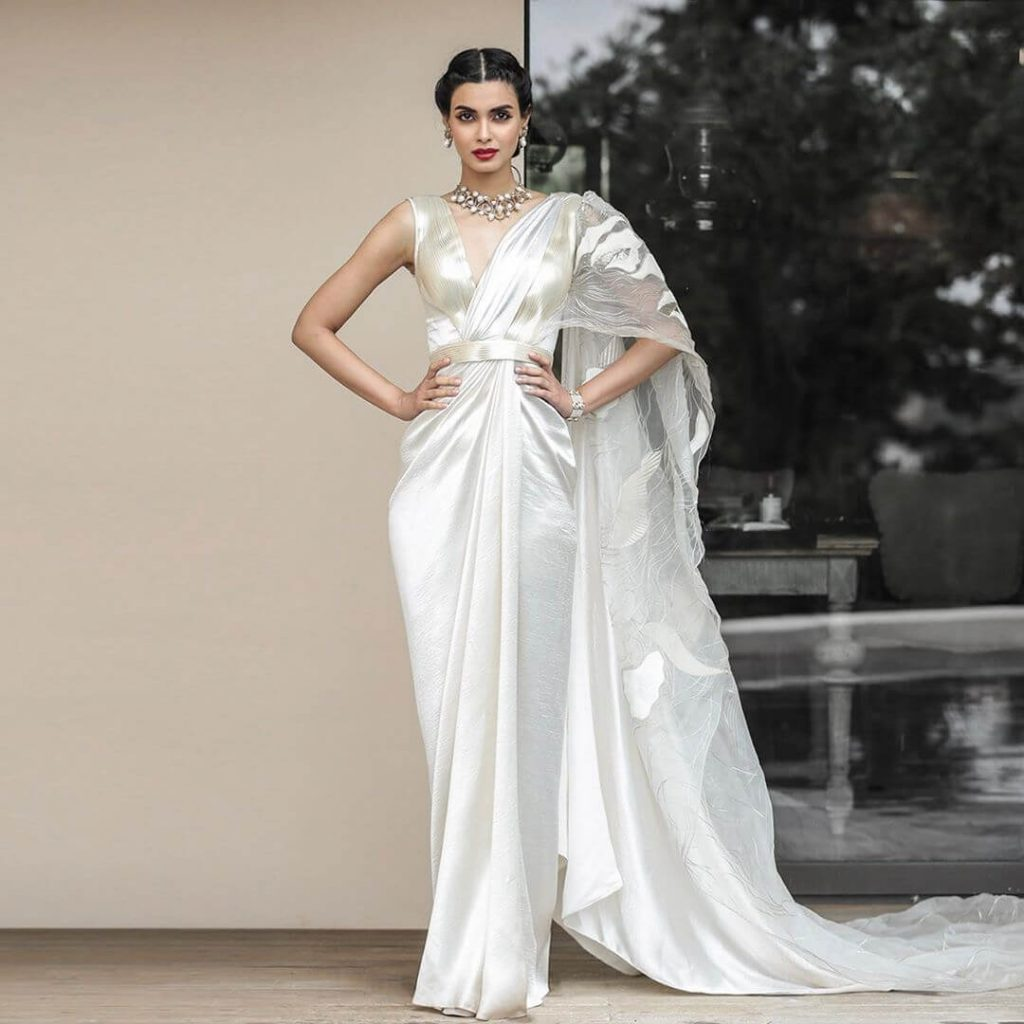 gown-inspired cocktail saree