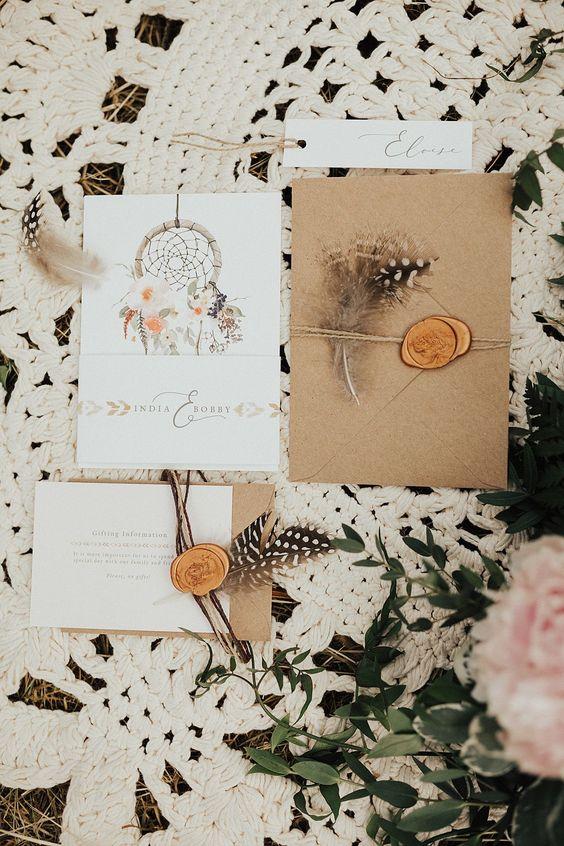 bohemian themed wedding invitations