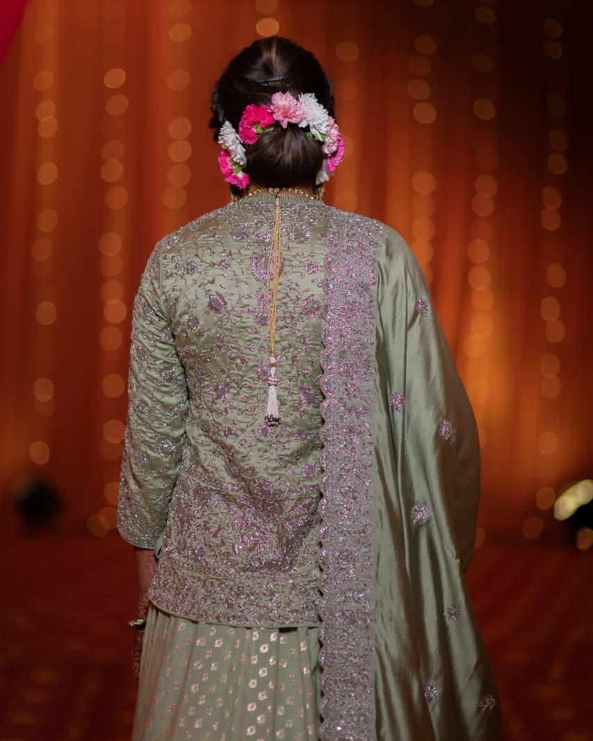 Sania Mirza's sister wedding, bridal outfit ideas, hair bun ideas