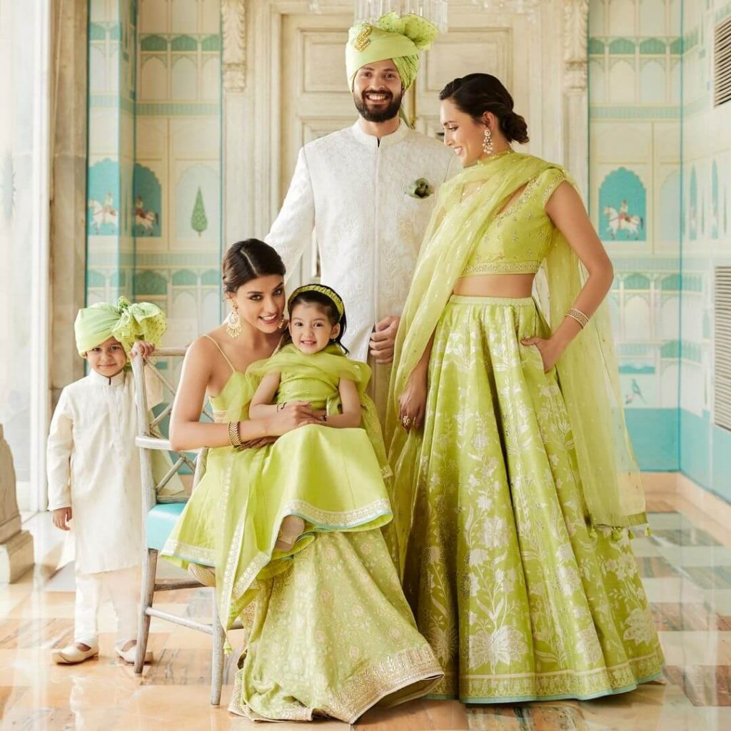 Matching wedding outfits for family