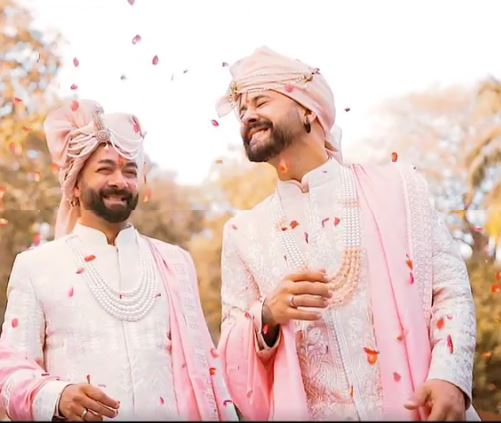 gay couple, lgbt wedding, Daniel Bauer's Indian wedding