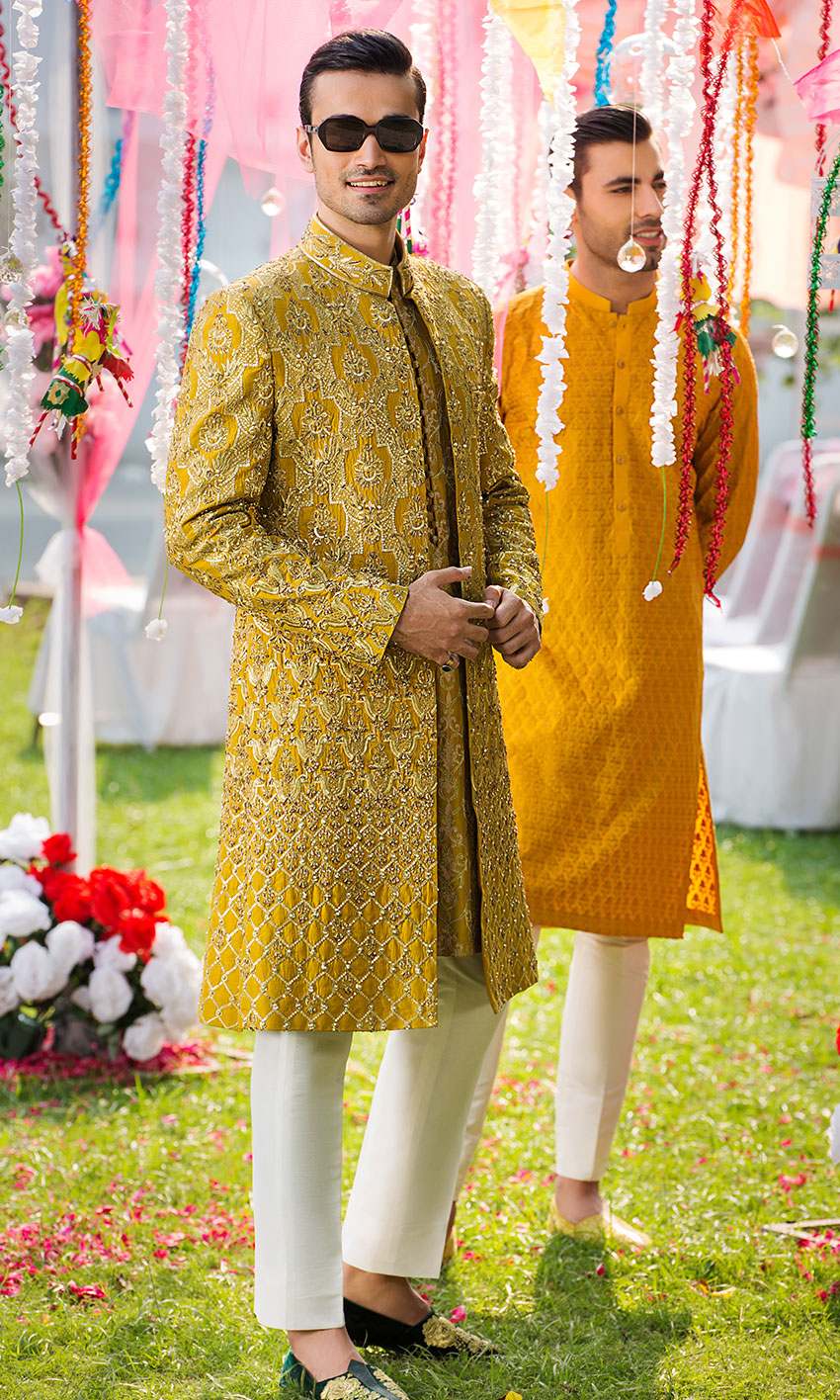 yellow Pakistani sherwani