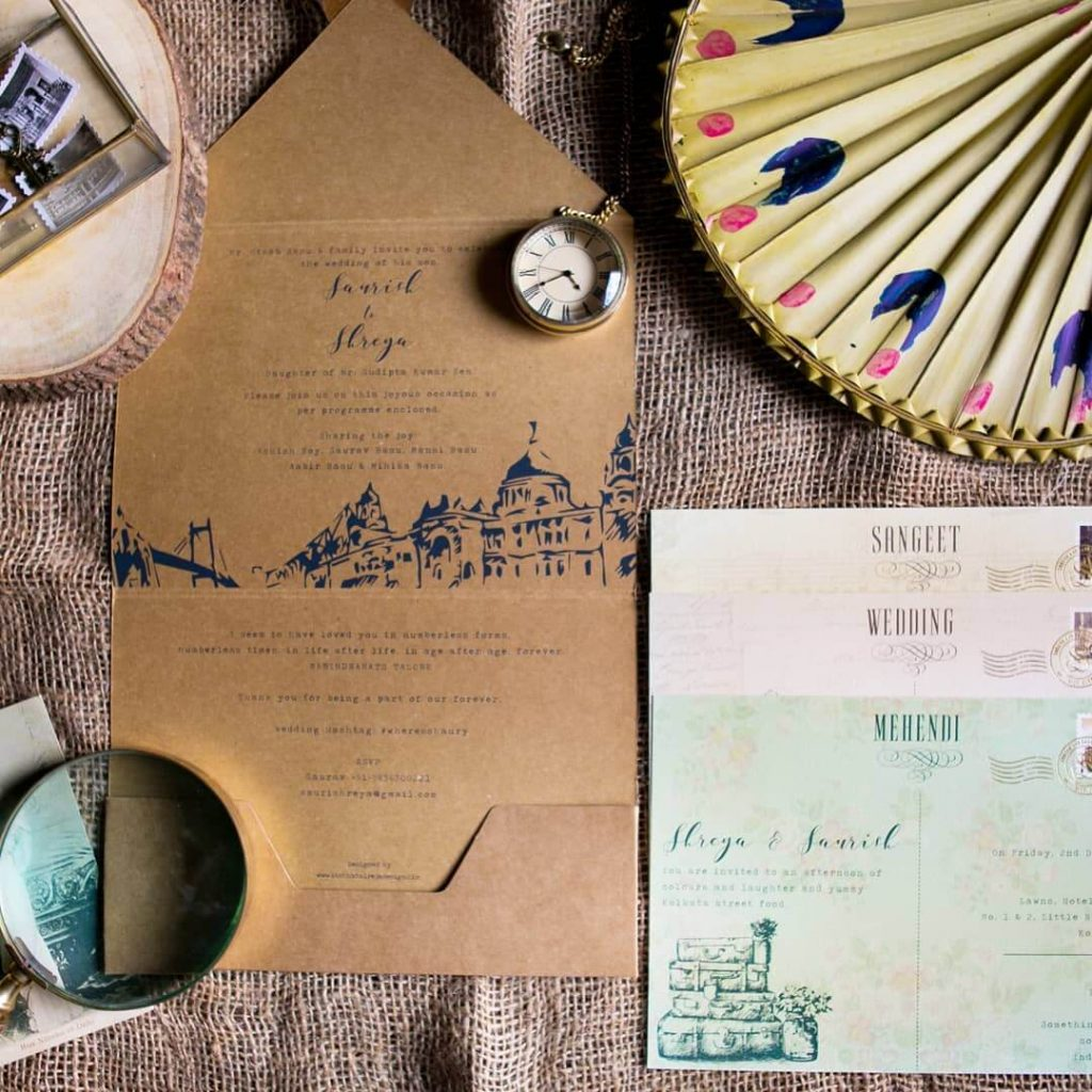 Post Card Themed Wedding Invites