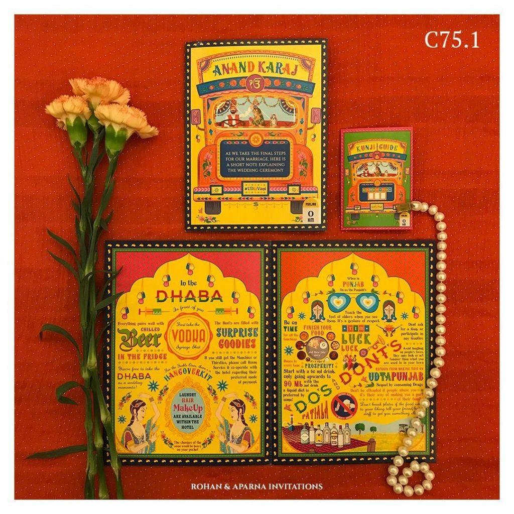 Punjabi Dhaba Themed Colourful Wedding Card