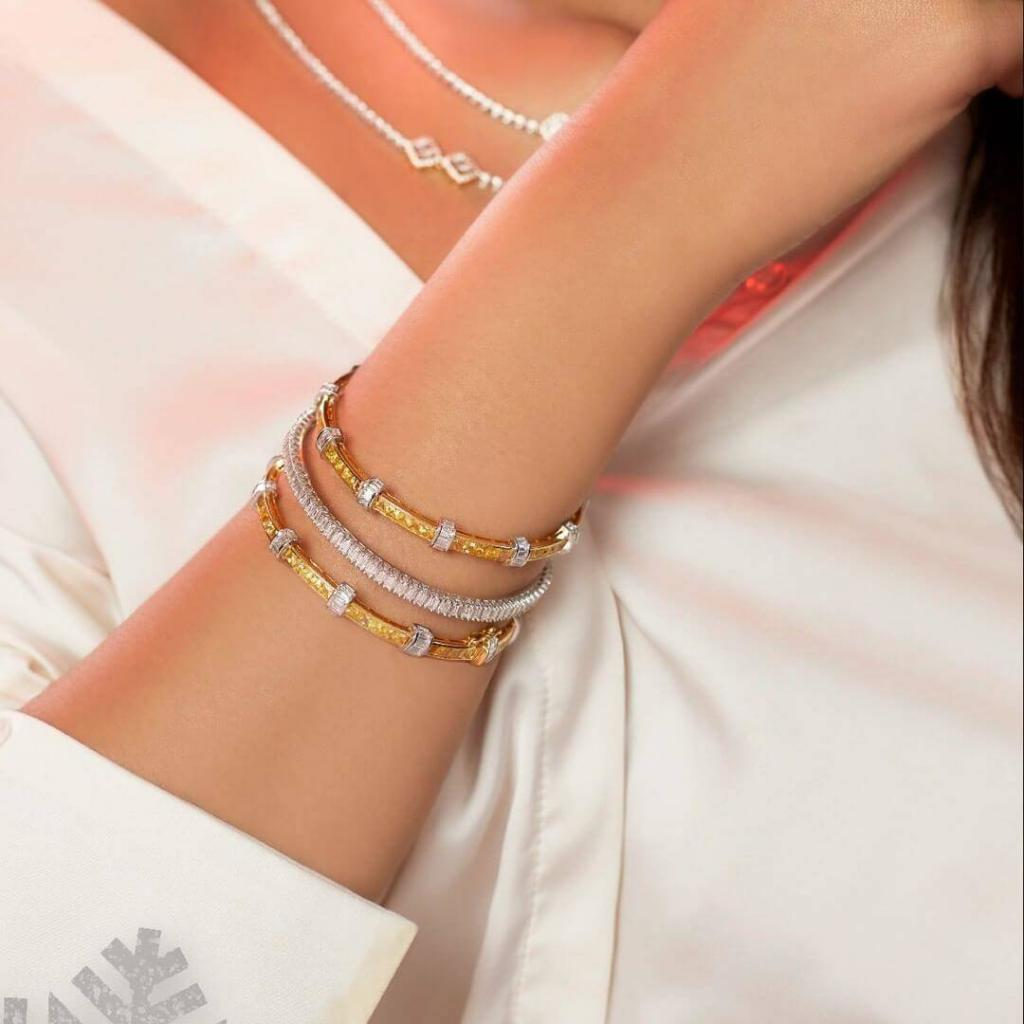 Diamonds And Gold Bangles