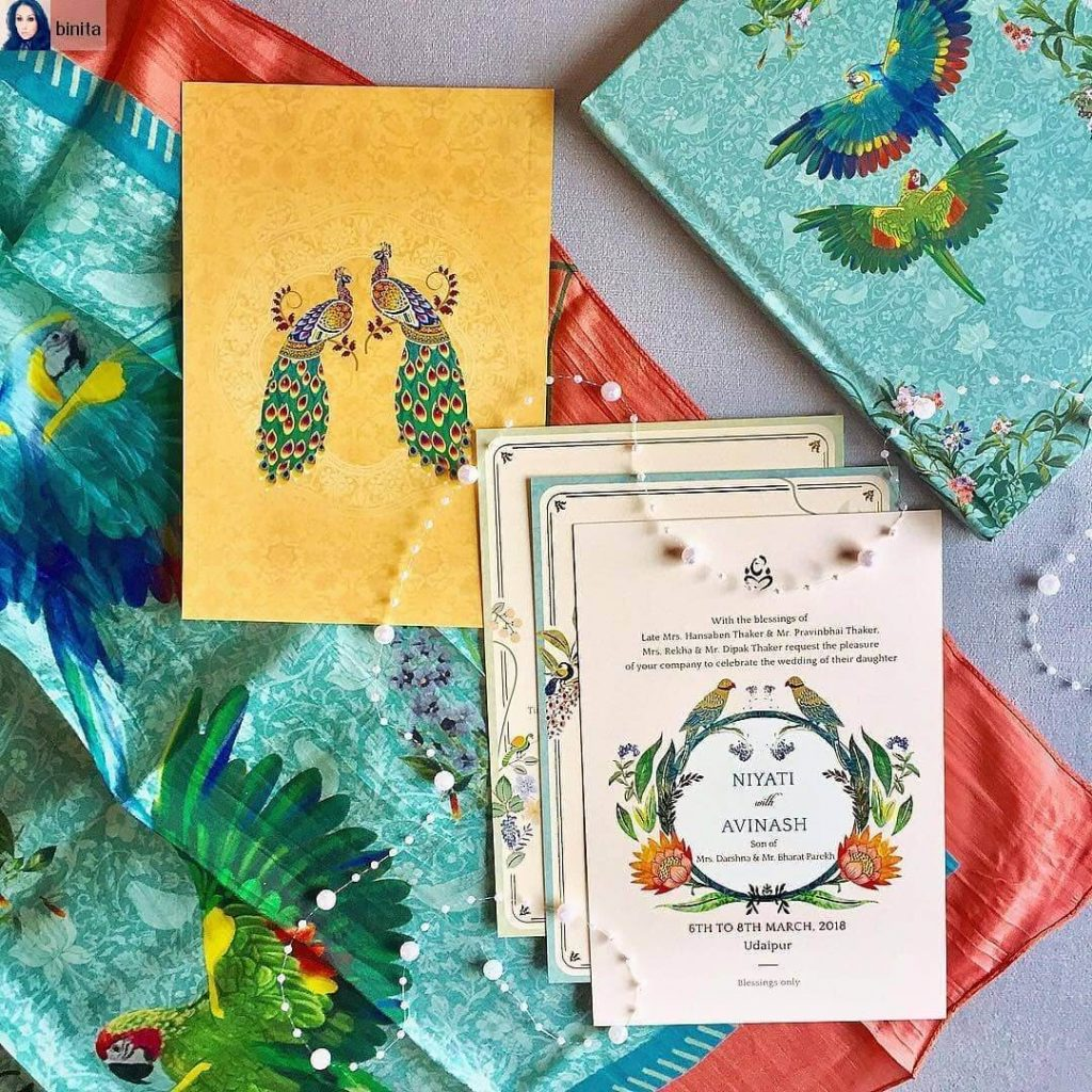 Peacock Themed Wedding Card