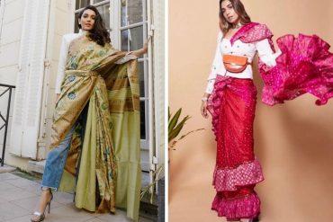 offbeat saree draping ideas