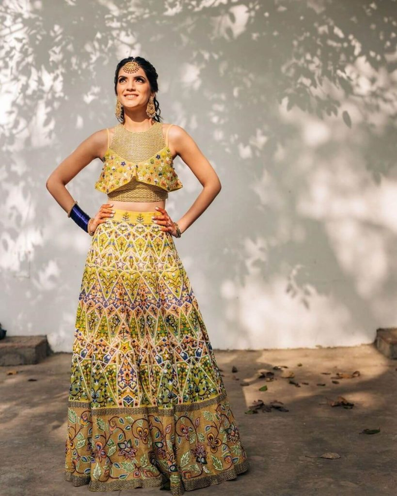 yellow color bridal lehenga