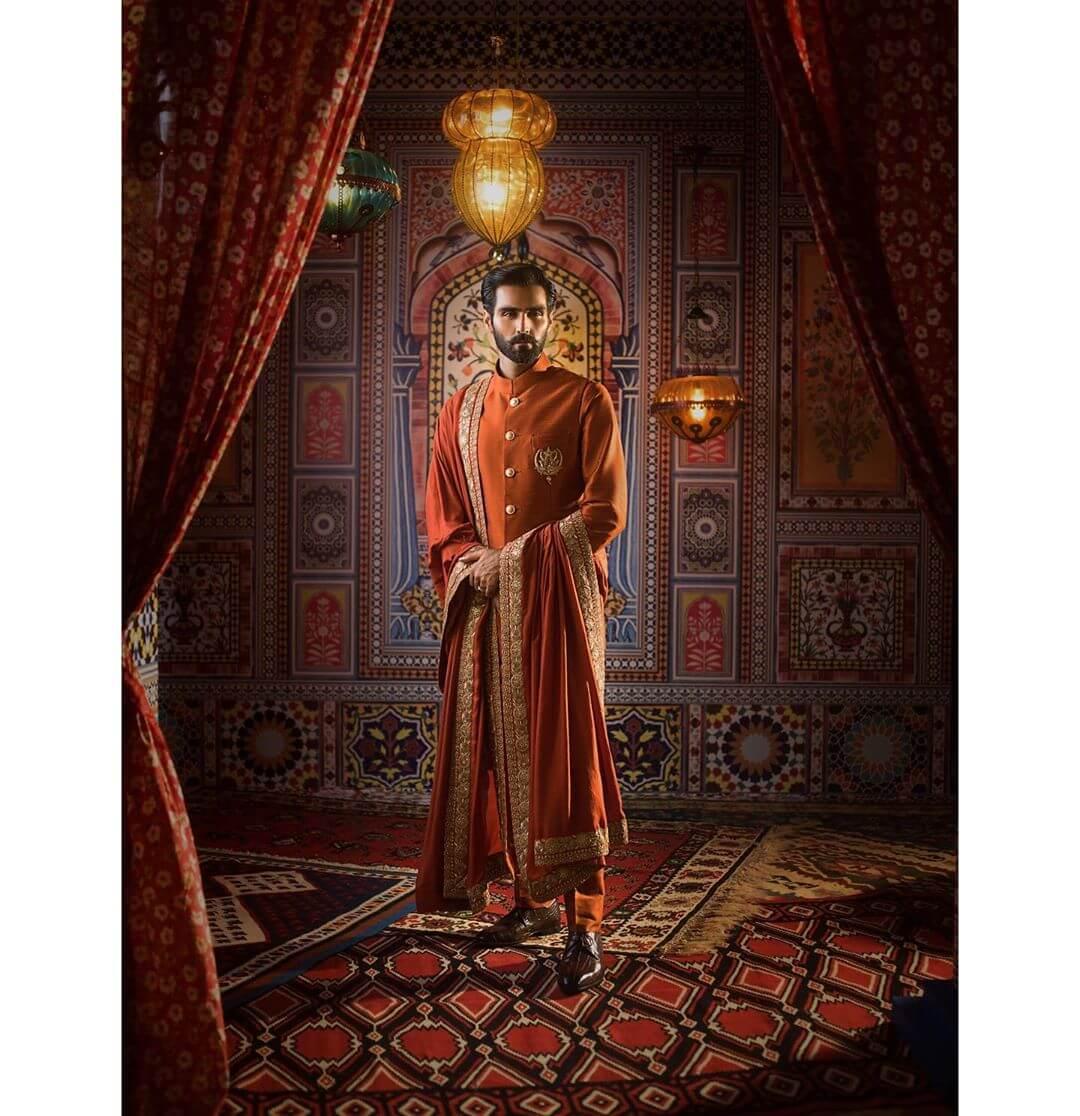 orange groom sherwani