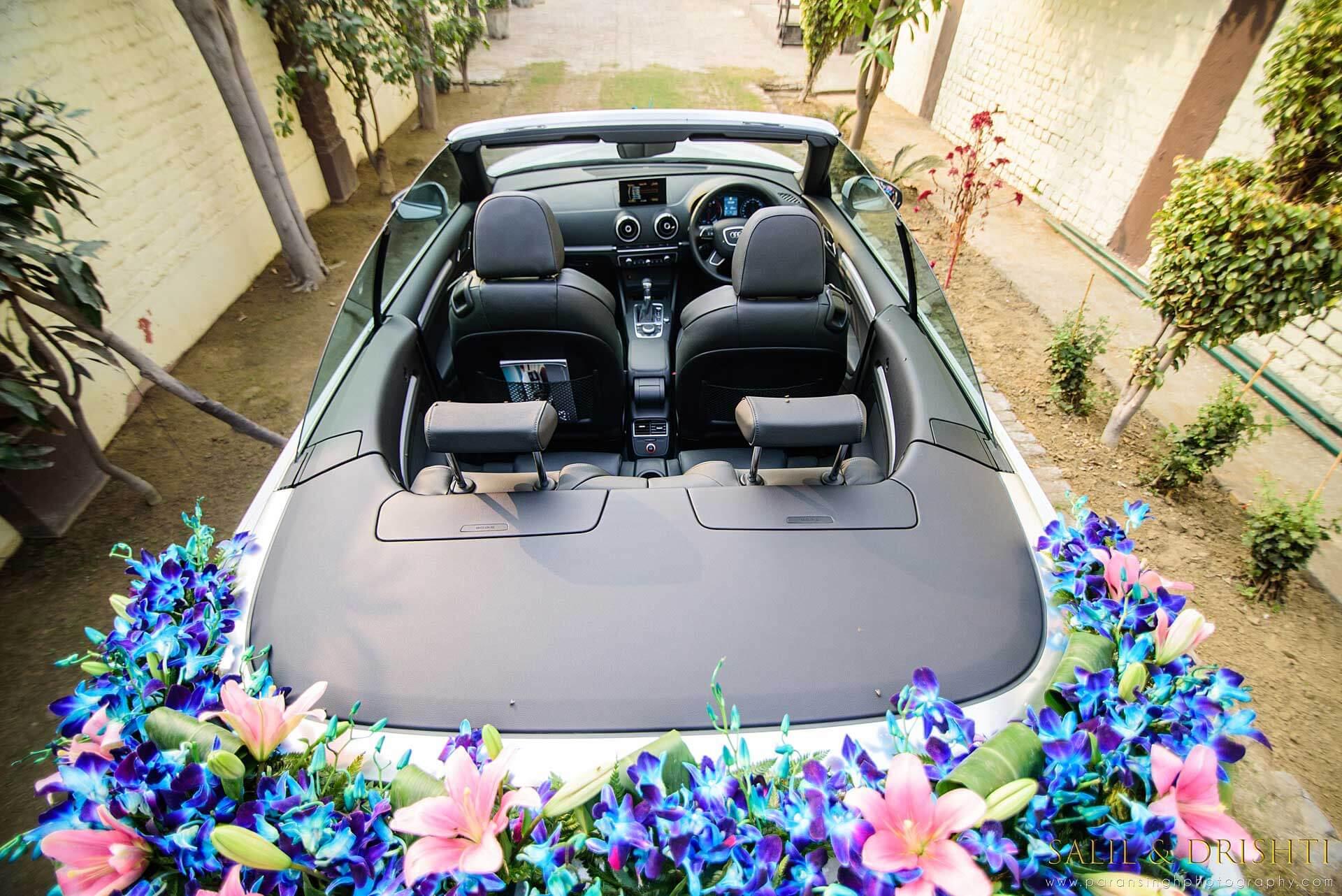 orchid decor for wedding car