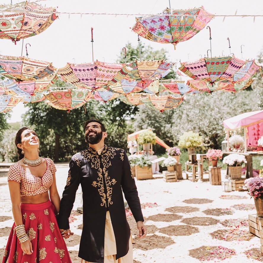 monsoon wedding ideas, umbrella decor