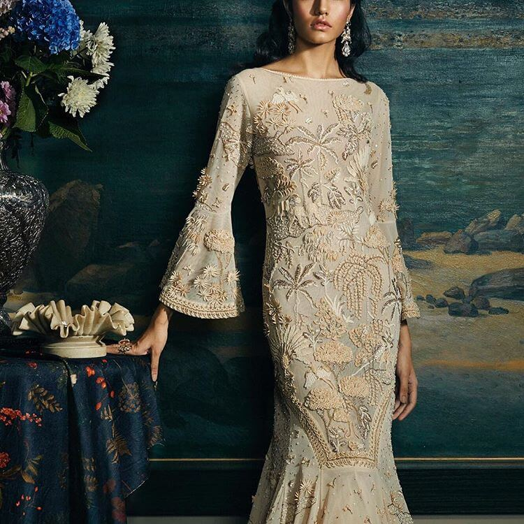 beige reception gown