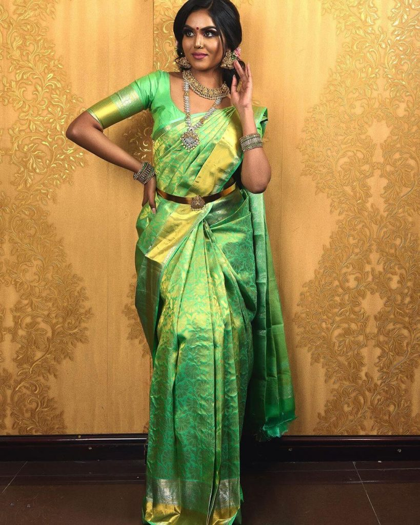 green kanjeevarma saree