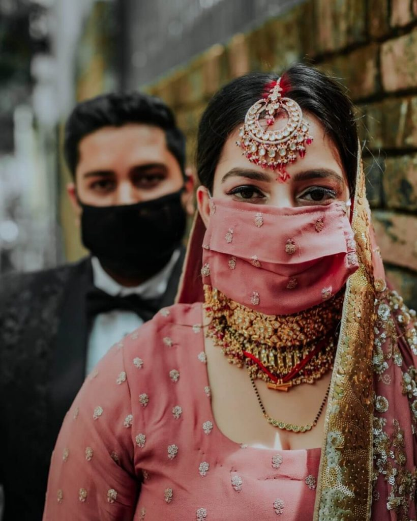 brides with masks