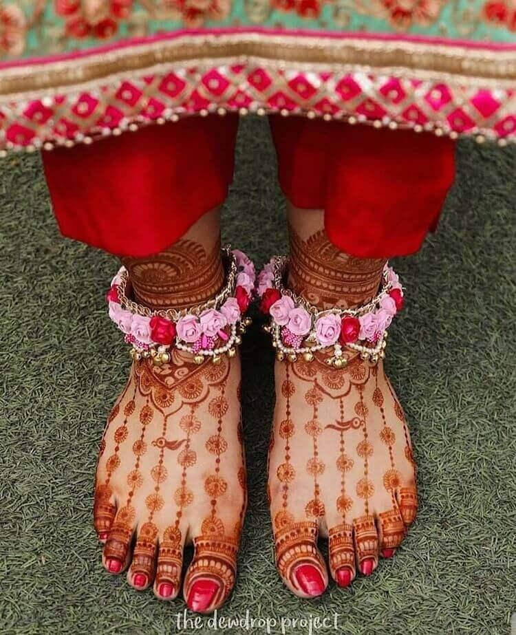 mehendi feet jewellery