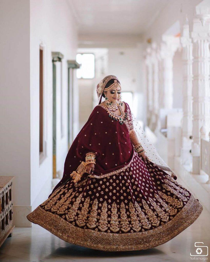 velvet lehenga for brides