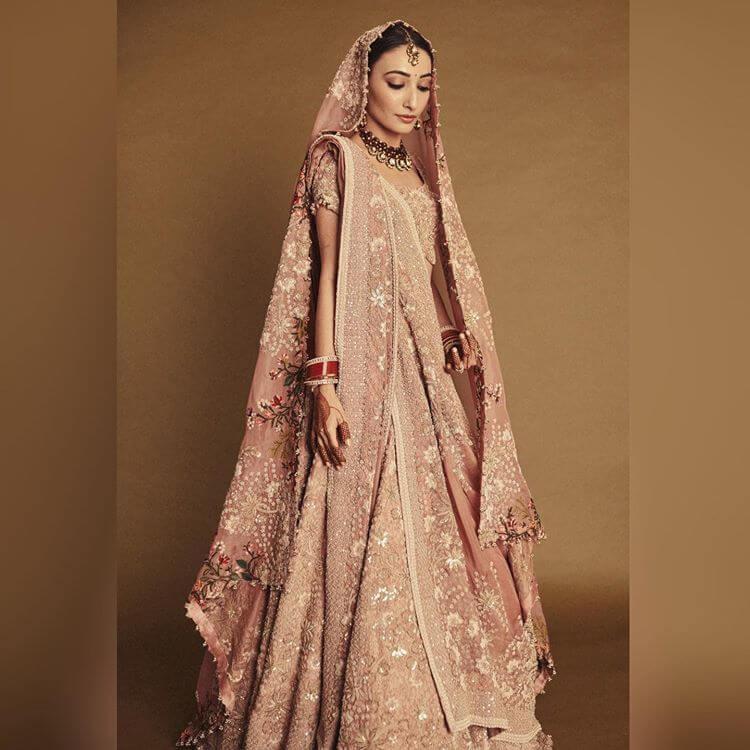 monotone pink bridal lehenga