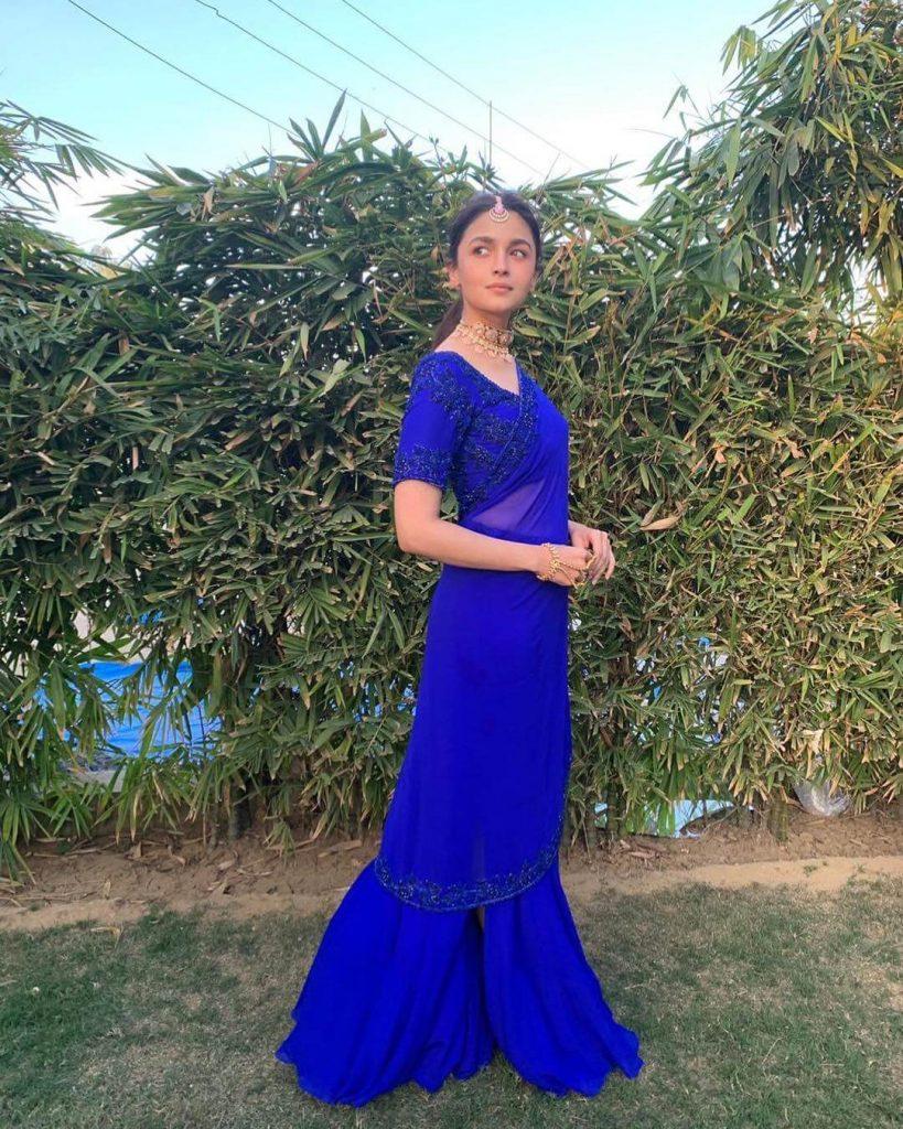 blue mehandi saree
