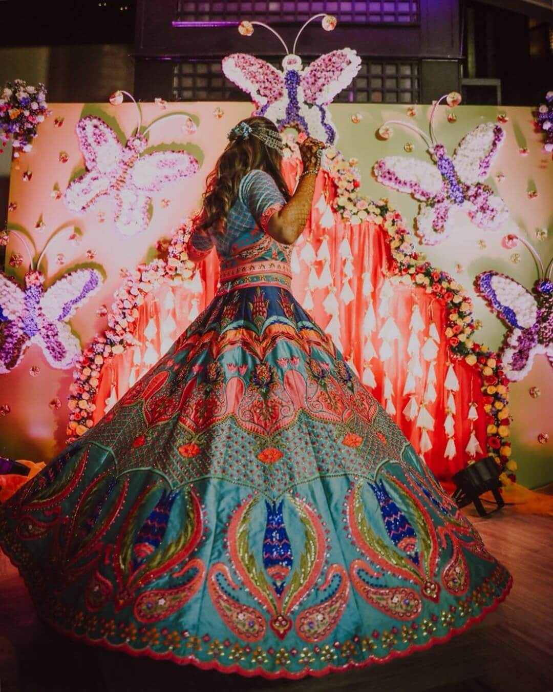 multicolored bridal lehenga