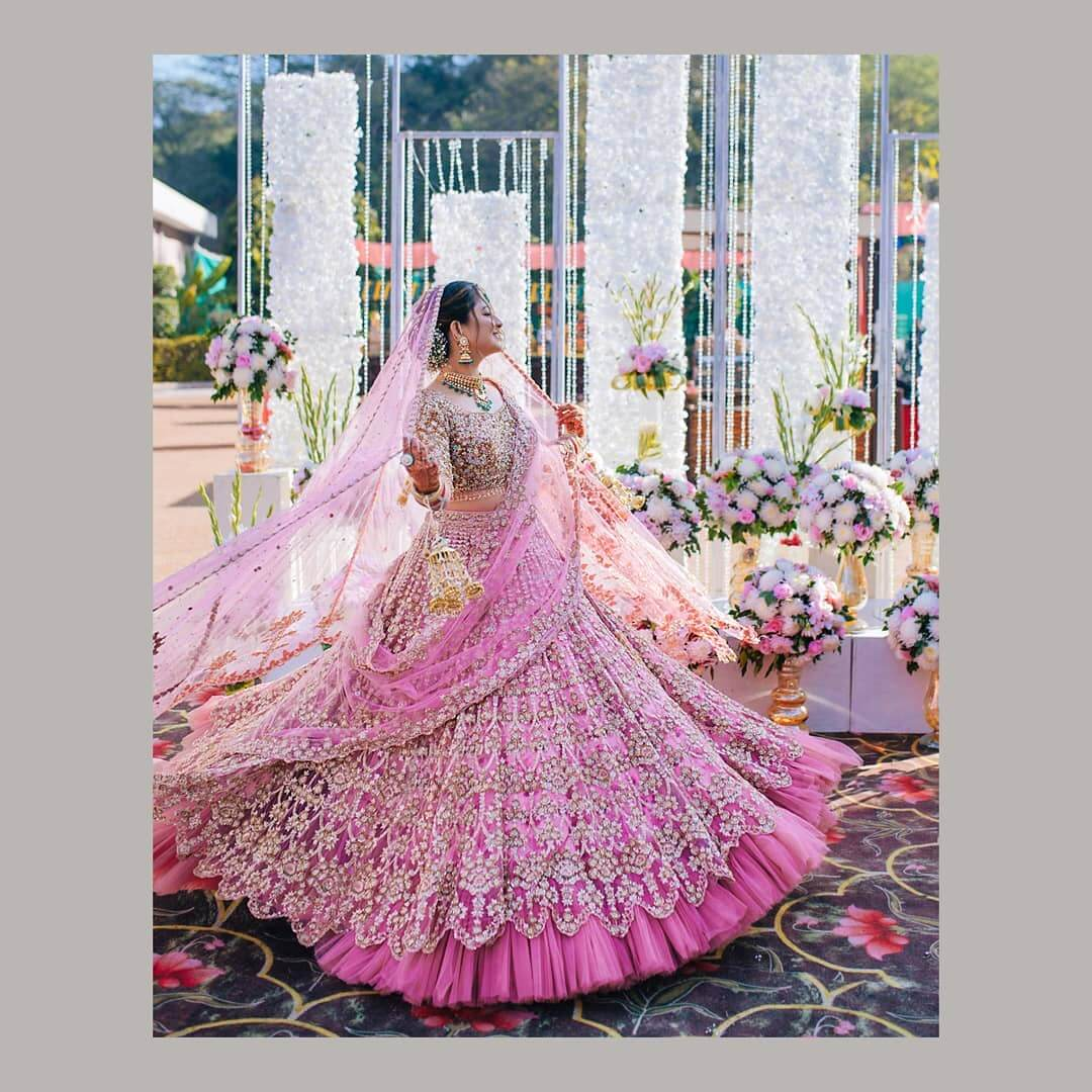 lavender pink wedding lehenga