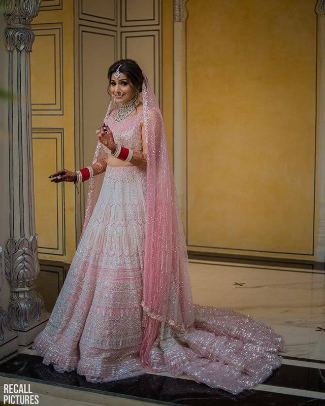 pink reception lehenga