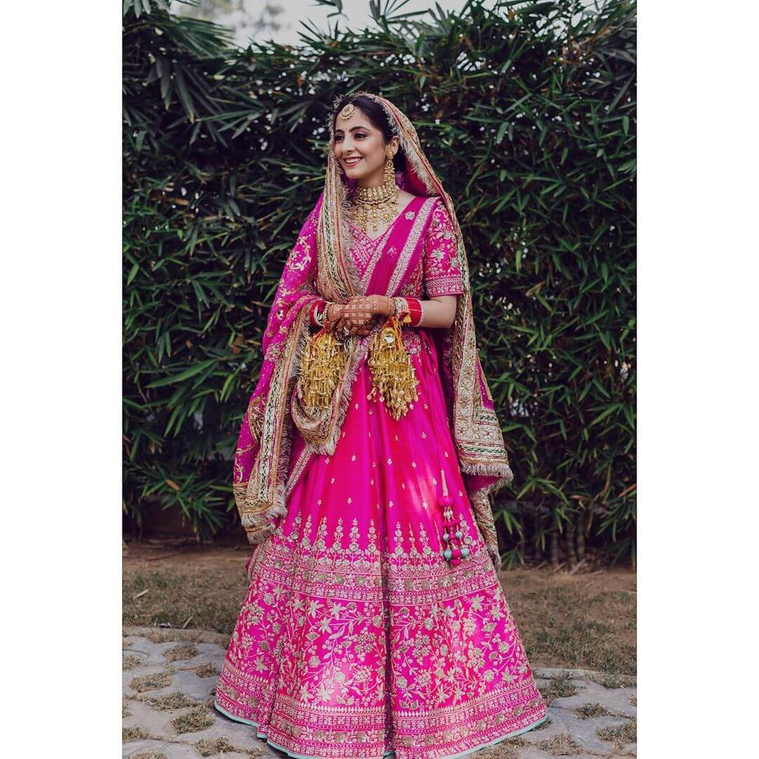 pink wedding lehenga