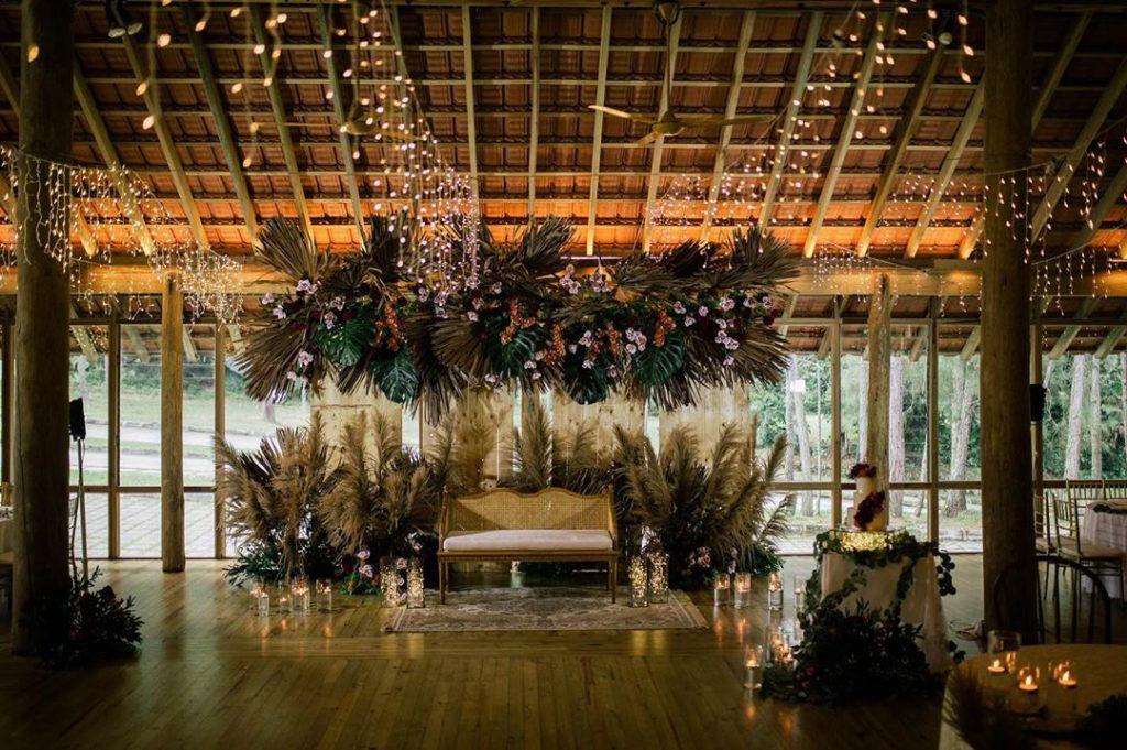 Bohemian wedding stage decor