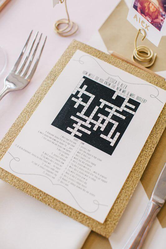 crossword, wedding party games