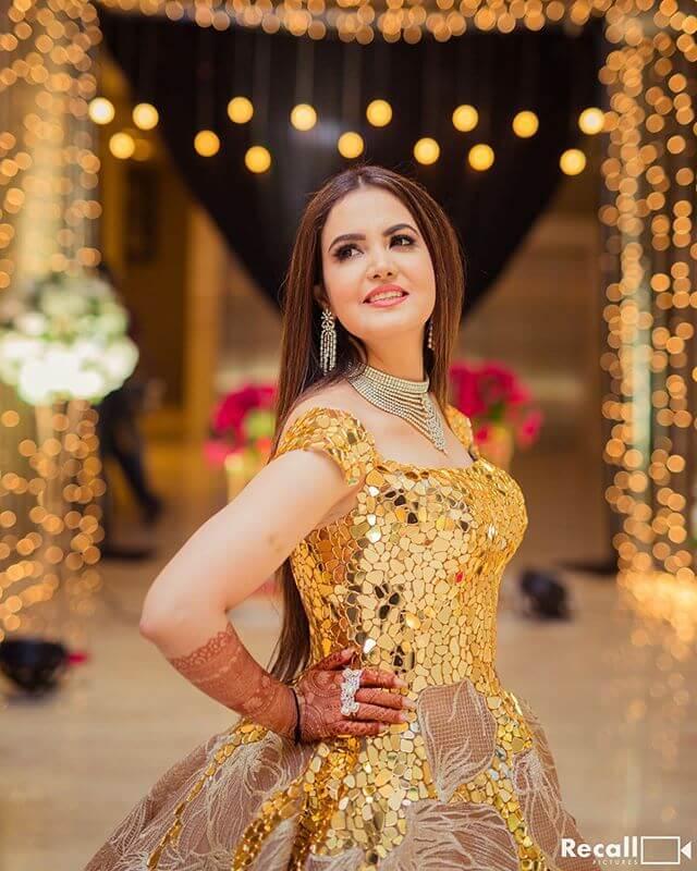 glittery golden gown