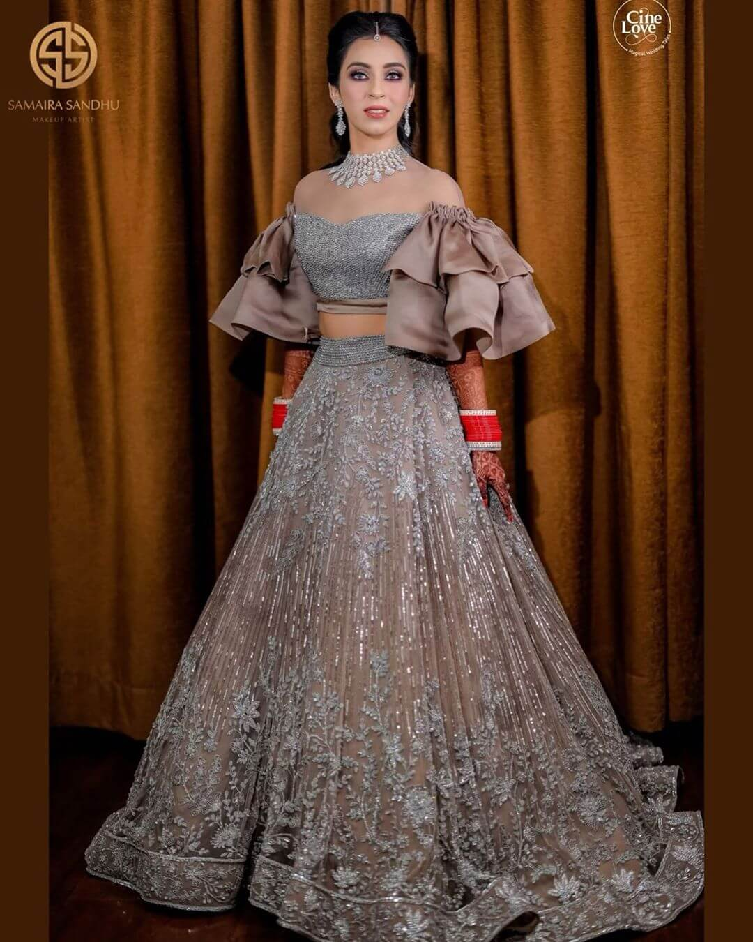 off shoulder lehenga