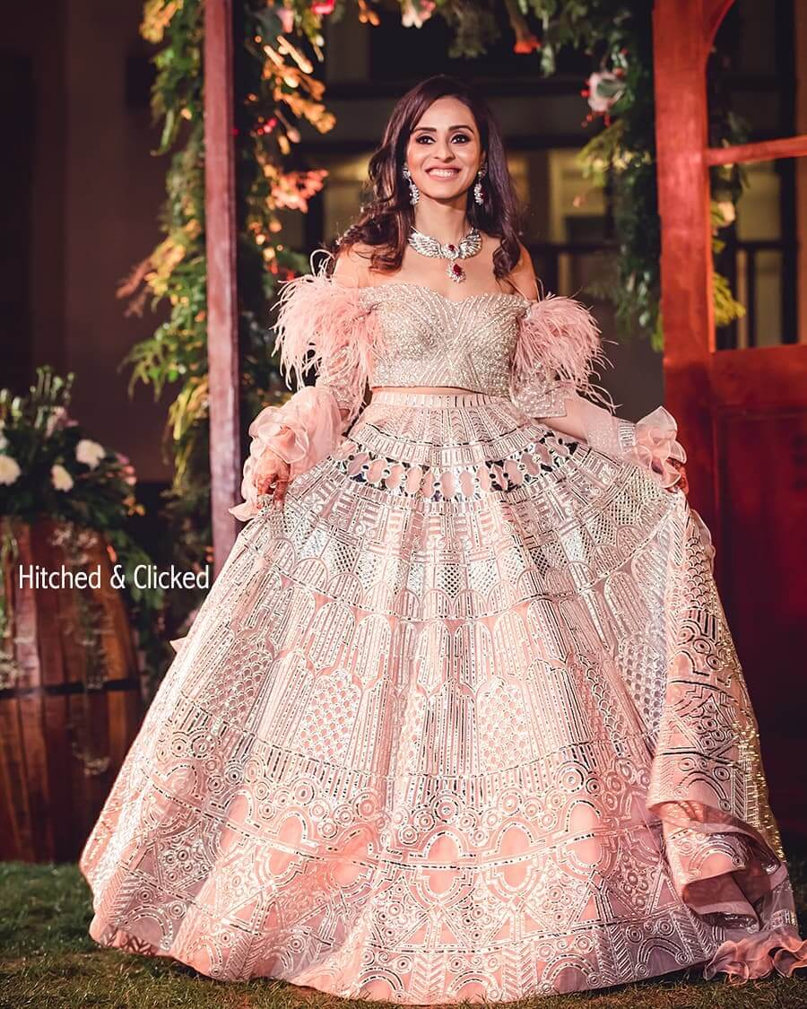 pink off shoulder lehenga