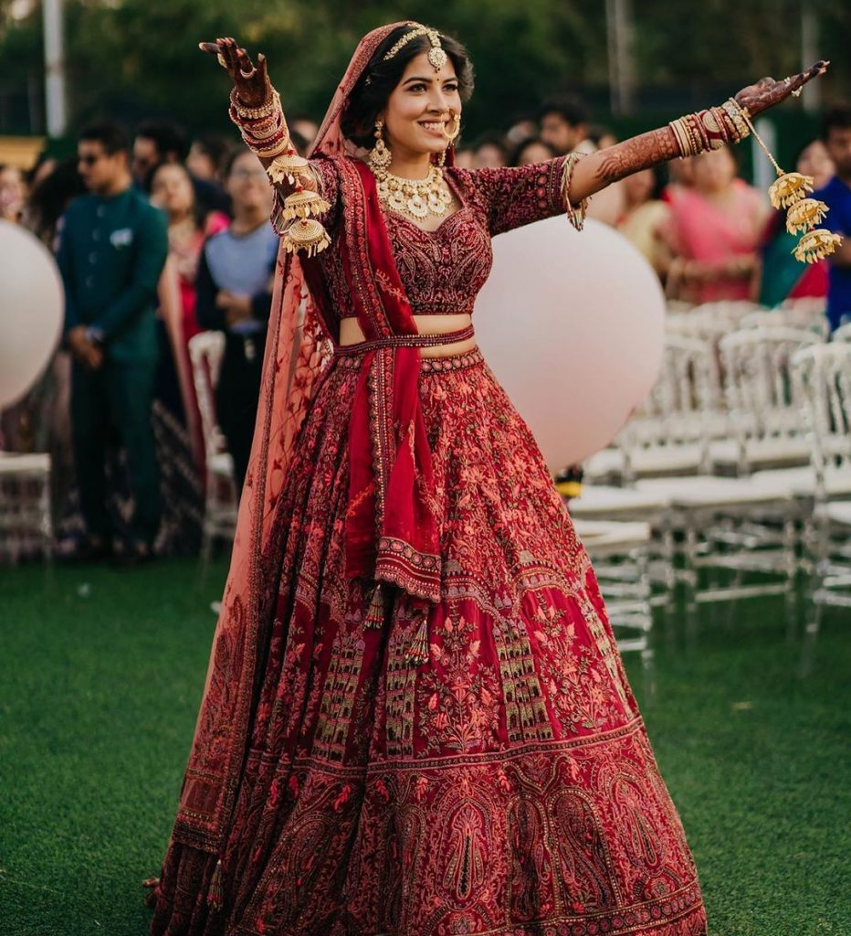 bridal belted lehenga