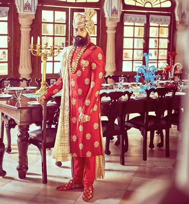 red banarasi sherwani