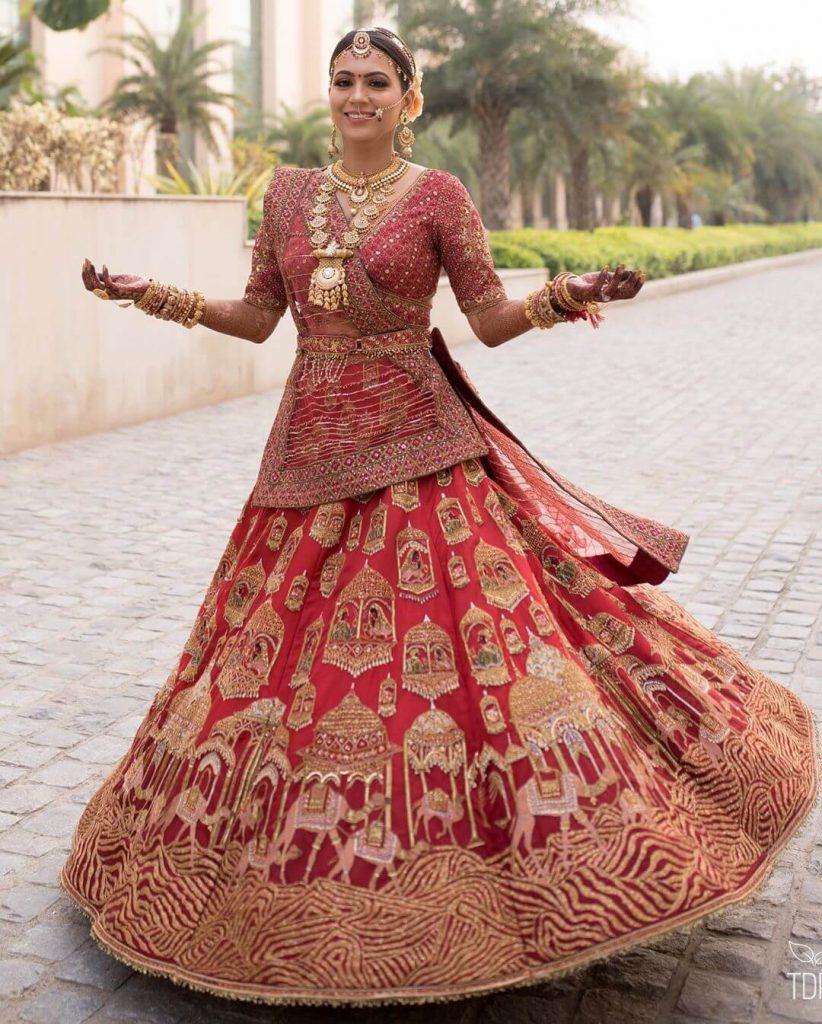 red lehenga for brides