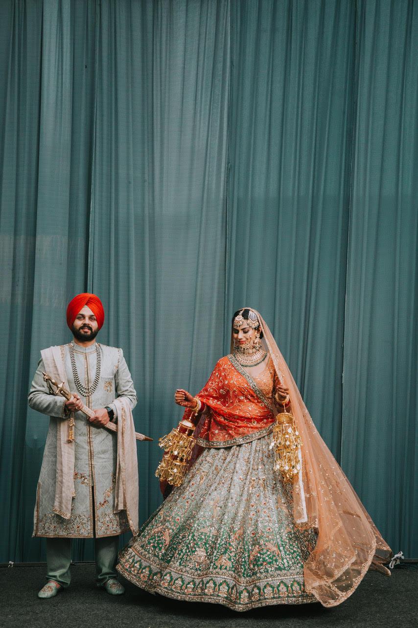 sikh wedding, personalised wedding lehengas