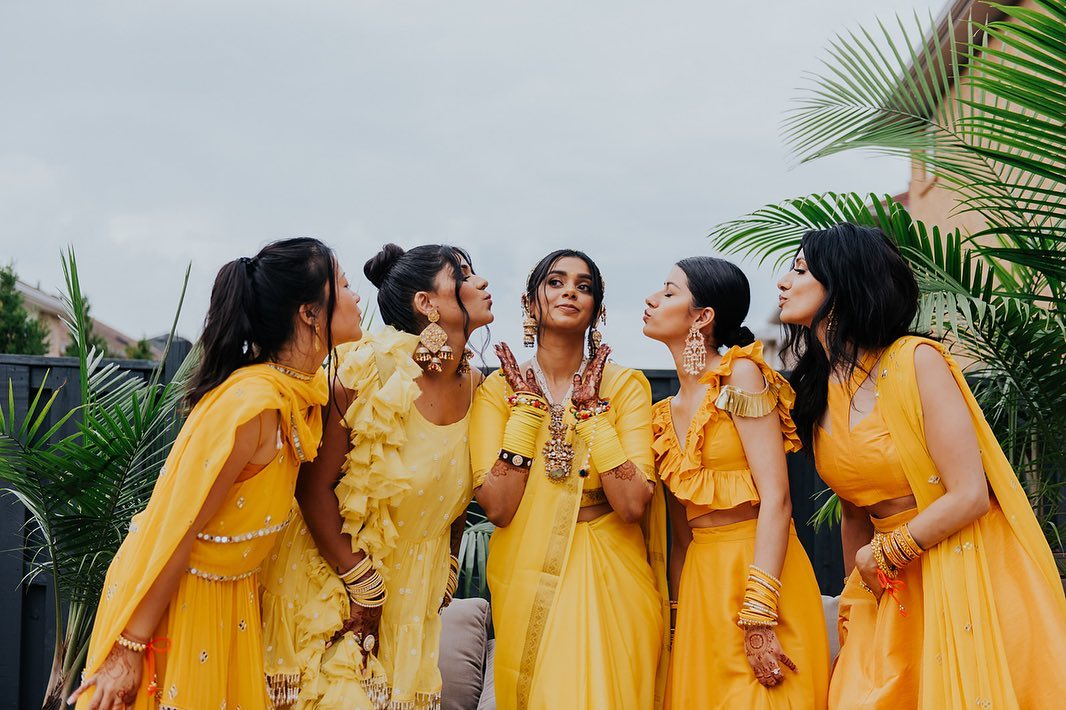 color coordinated bridesmaids