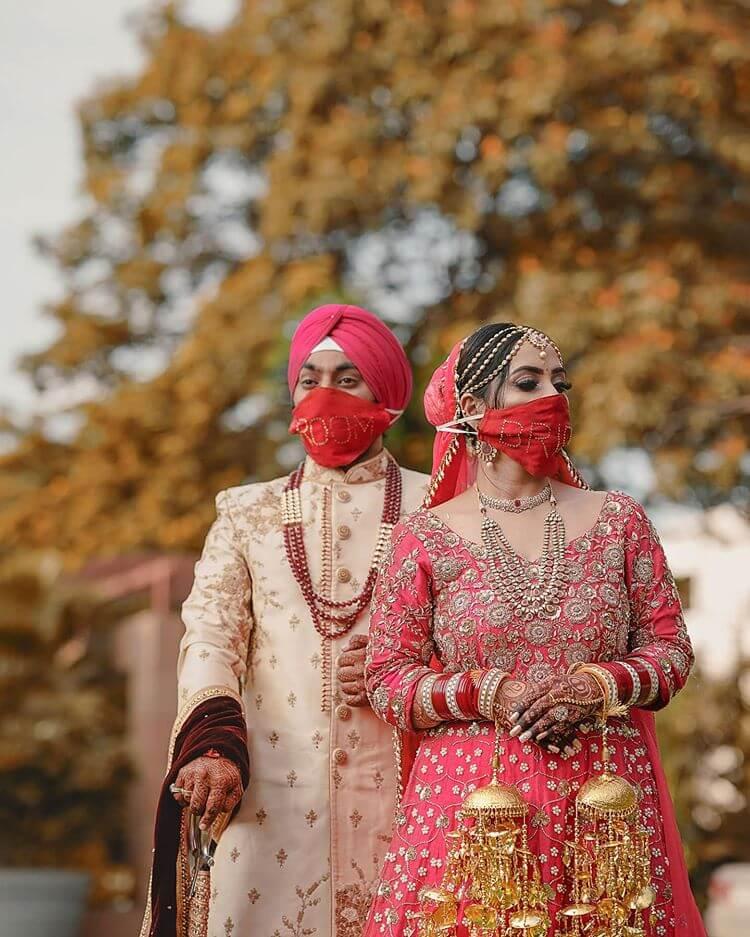 couple wedding masks