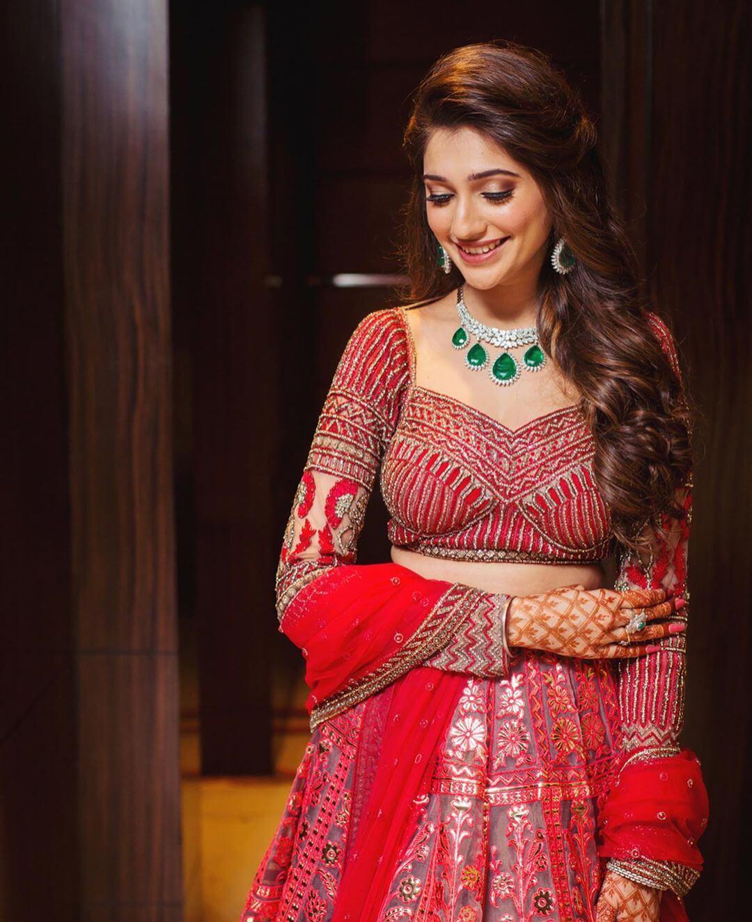 jewellery with red lehenga