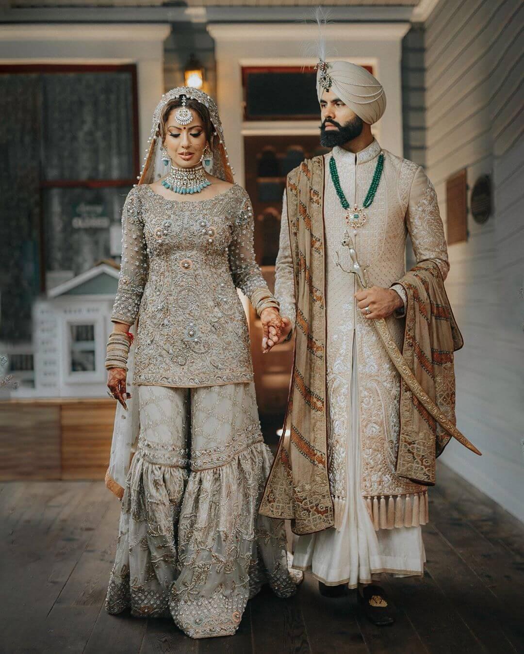silk wedding, sharara suit
