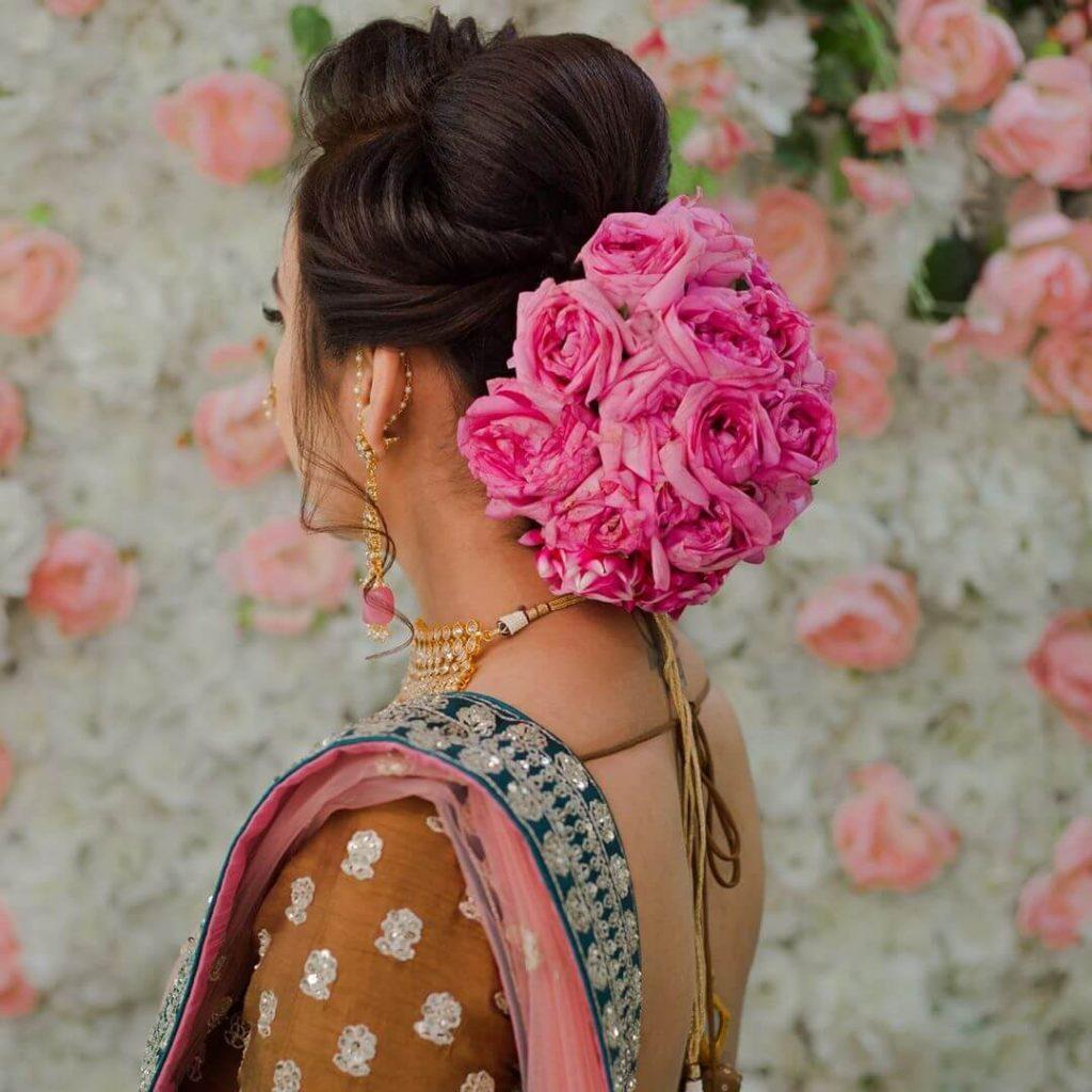 floral bridal buns