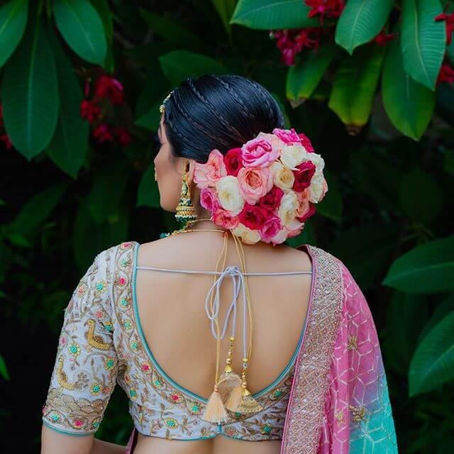 floral bun hairstyle