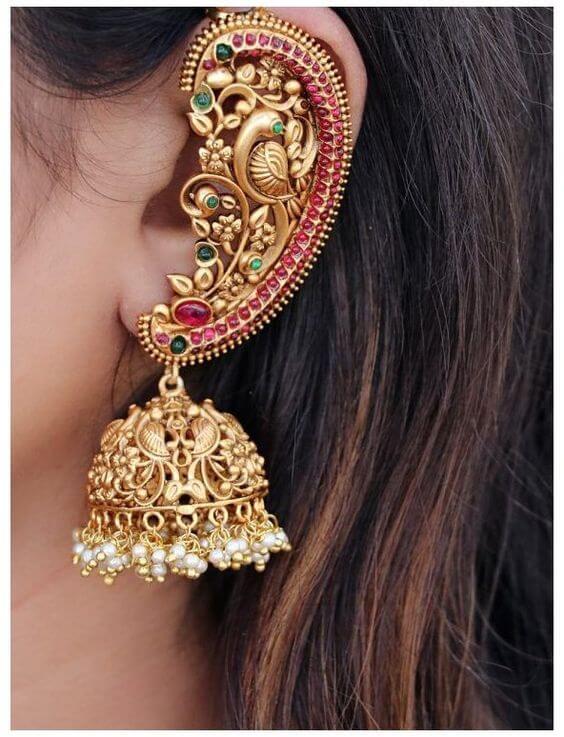 bridal ear cuffs with jhumka