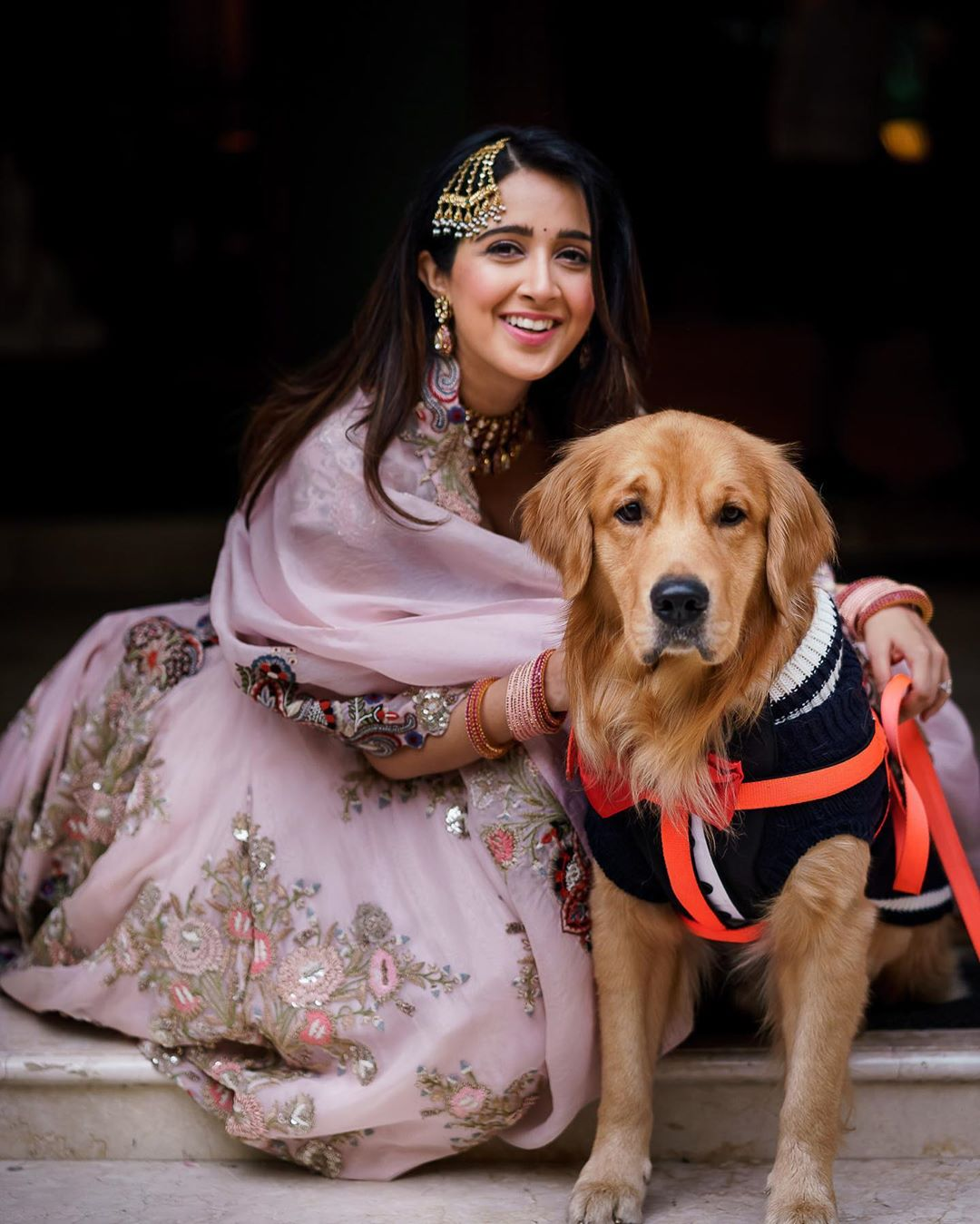 bride with pet dog