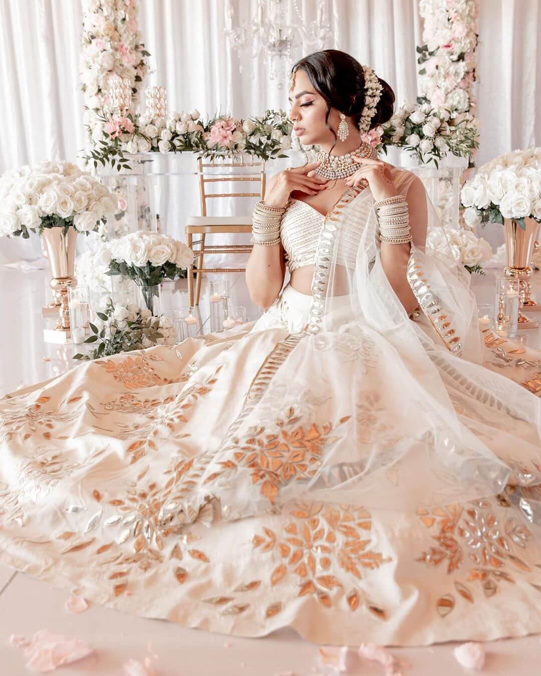 white bridal lehenga