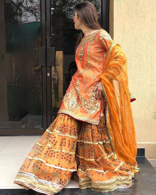 sharara suit, orange color Indian wear
