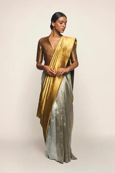 gold silver saree