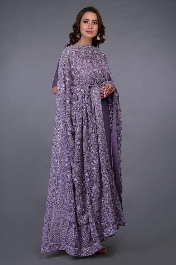 Purple Chikankari Suits, purple ethnic outfits
