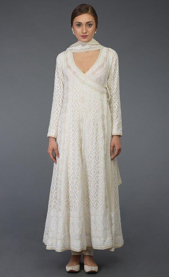 White Angrakha Suit
