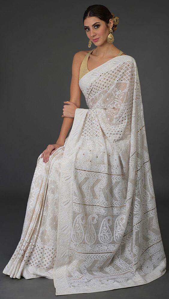 White Chikankari Sarees
