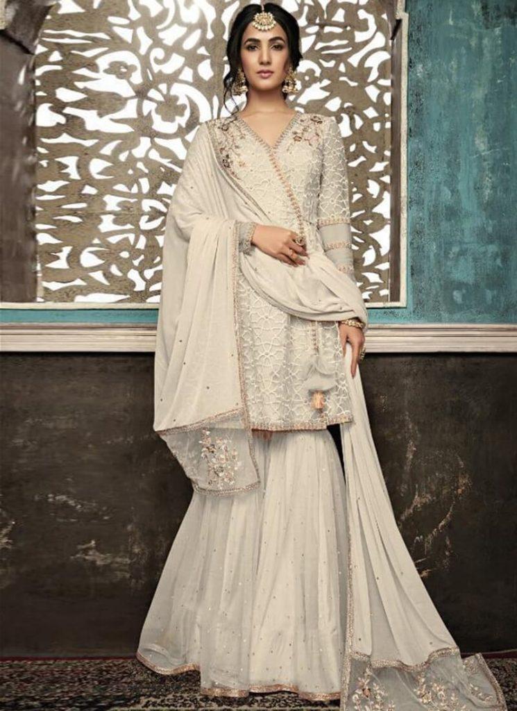 White Sharara, white indian outfits